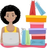 25674377-illustration-of-a-girl-sitting-beside-shopping-bags-doing-some-shopping-online