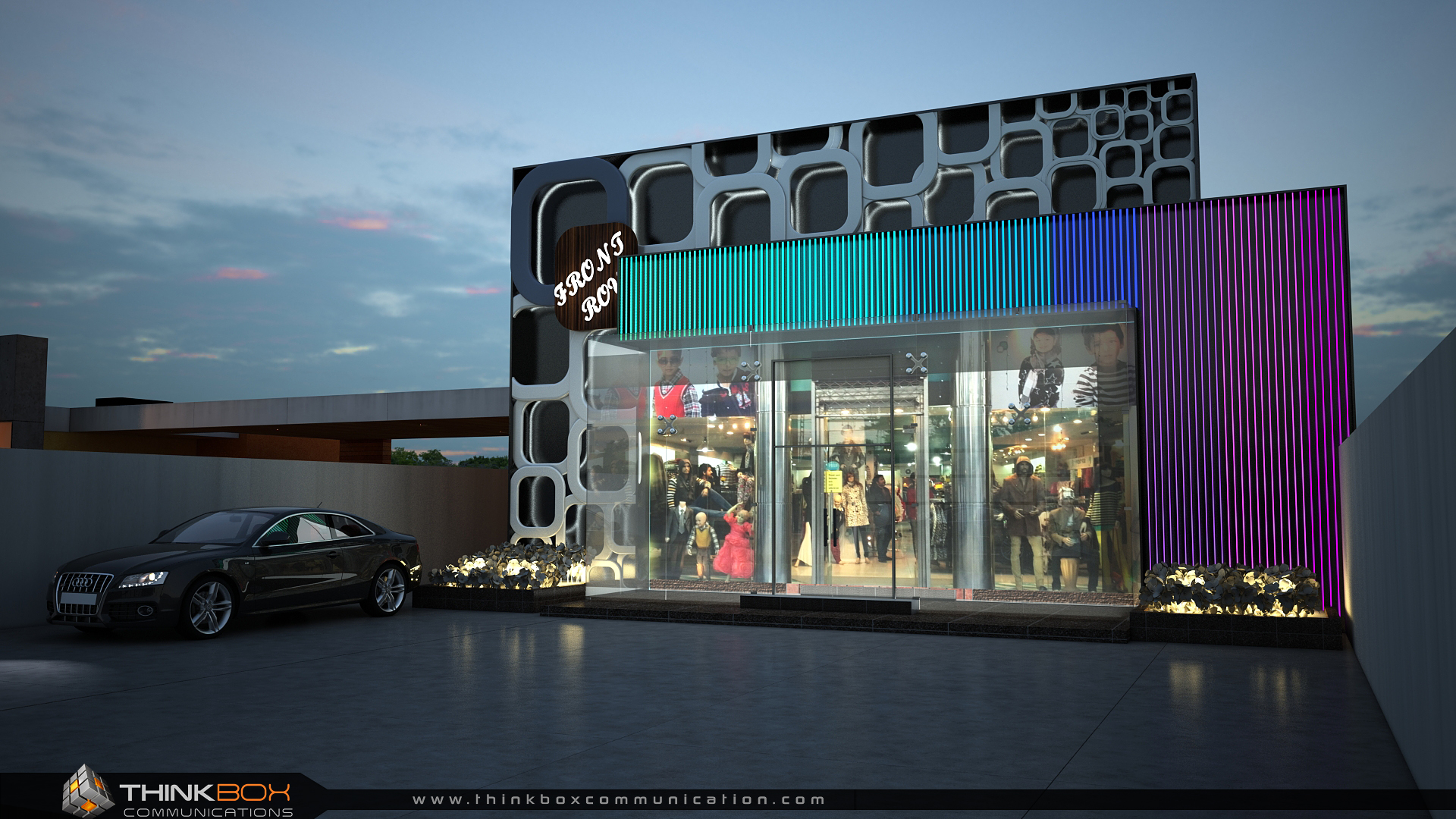 3D Final Front Row Boutique Shop Render